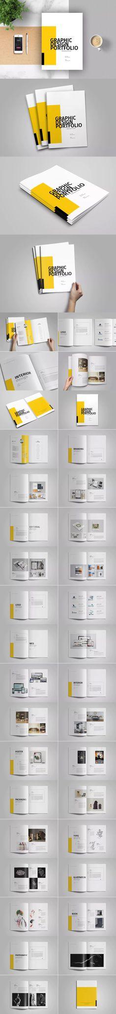 Graphic Design Portfolio Template  InDesign INDD - A4 and Us Letter Size #unlimiteddownloads