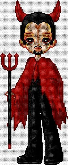 Halloween diablito en punto de cruz www.nacaranta.com