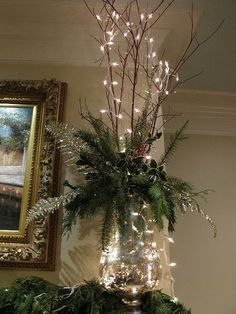 Mantel decoration branches with minimal greensMantle decoration=love the lookCreate a holiday ambiance and express your joy for this season throughout your house with these indoor Christmas decorations ideas, because every room can use [. Christmas Fireplace, Christmas Mantels, Christmas Wreaths, Silver Christmas, Rustic Christmas, Simple Christmas, Elegant Christmas, Victorian Christmas, Vintage Christmas