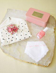 Love this bridesmaid gift, jewelry, nail polish and emboridered hankie | 100 Layer Cake