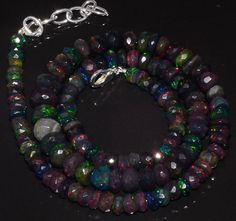 """93CRTS 5to8.5MM 18"""" BLACK ETHIOPIAN OPAL RONDELLE FACETED BEADS NECKLACE OBI2847 #OPALBEADSINDIA"""