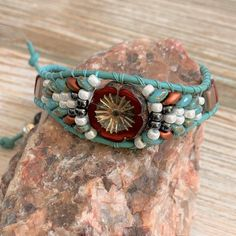 Flower Themed Leather Bracelet | turquoise leather / silver flower button / red white copper | Michelle Vyn - Vine Art Silver Flowers, Beaded Flowers, Red Flowers, Flower Button, Vines, Cuff Bracelets, Red And White, Copper, Turquoise