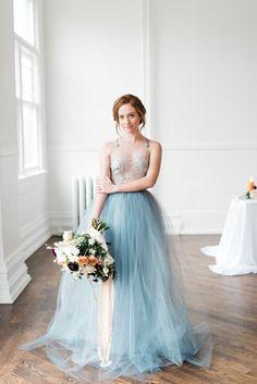 722ace9b924a Blue Wedding Dress - Fine Art Wedding Inspiration Blue Grey Weddings