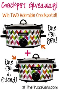 Frugal Girls Giveaway: Win TWO Adorable Crockpots!! ~ 1 For You + 1 For a Friend! ~ at TheFrugalGirls.com #slowcooker
