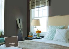 A color, like a warm, deep chocolate brown, is a restful and calming choice for the bedroom. Color: Barnwood KMA72 http://www.colorstudiocollection.com/