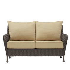 Glenlee textured brown steel strap seat patio sofa sun for Glenlee patio furniture covers