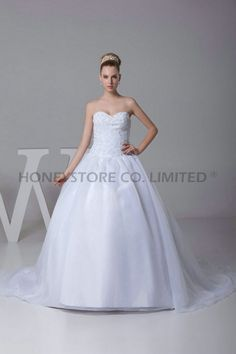 Aliexpress.com : Buy Ball Gown Sweep Train Sweetheart Organza with Appliques Wedding Dresses from Reliable ball gown wedding dress suppliers on HONEYSTORE CO., LIMITED $432.58