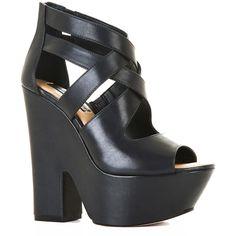 BCBGMAXAZRIA Zoey Platform Wedge Sandal ($250) ❤ liked on Polyvore