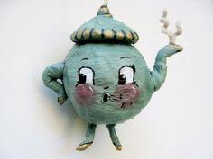 Spun Cotton Jeanie the Little Teal Tea Pot - Sara Duarte