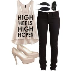 high heels, high hopes - too funny. too bad the tank is sold out at h & m.