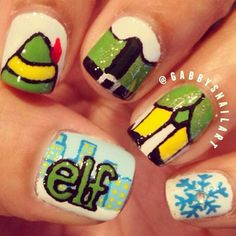 christmas nails - buddy the elf