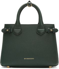 BURBERRY Green Small Banner Tote Bag. #burberry #bags #shoulder bags #hand bags #canvas #leather #tote #