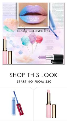 """""""So Sweet: Candy-Colored Lips"""" by es-vee ❤ liked on Polyvore featuring beauty, Lime Crime, Clarins, Cotton Candy and candylips"""