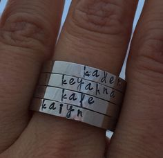 Stackable name ring. Children name ring. Mother's Ring.