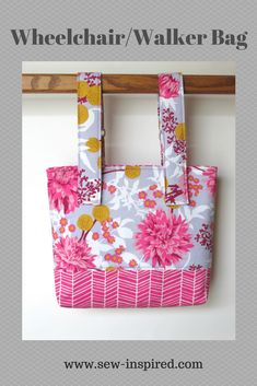This tote bag has adjustable straps that detach on one end with hook and loop tape.  The bag has a magnetic snap closure and an outside pocket perfect for a cell phone.   Wheelchair/Walker Bag - also can work on a stroller!