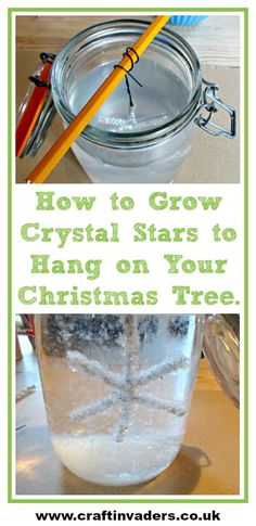 Growing Crystals is a really fun project to do at home here we show you how we made our own Christmas stars to hang on our Christmas tree. The crystals form so quickly you only have to leave them overnight! Growing Crystals is Christmas Tree Decorations For Kids, Handmade Christmas Tree, Christmas Crafts For Kids, Christmas Tree Ornaments, Decor Crafts, Holiday Crafts, Fun Crafts, Holiday Decor, Crystals For Kids
