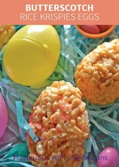 Butterscotch Rice Krispies Eggs are simple and delicious with a new pop of flavor! Mix these in with the kids' candy-filled eggs to make their Easter baskets extra special!