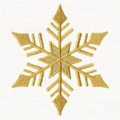 Bring glitz and glamour to your holiday celebration with this pretty little snowflake machine embroidery design! It's perfectly sized to tuck into corners of napkins, placemats, and more. Metallic gold thread adds sparkle and shine! Snowflake Images, Snowflake Designs, Machine Embroidery Designs, Hand Embroidery, Little Snowflake, Santa Suits, Urban Threads, Pretty Little, Creative Design
