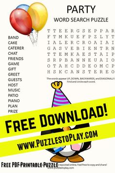 The Party word search is a fun, free download reminding us all to loosen up and enjoy the event. The printable puzzle is a free download to play (and you probably should not play it at a party as the finger food crumbs might get on the paper. Free Word Search Puzzles, Free Printable Word Searches, Printable Puzzles, Free Printable Worksheets, Free Printables, Puzzle Books, Love Words, People Around The World, Finger Food