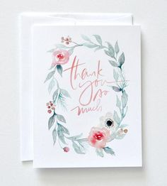 Watercolor Wreath Thank You Card Set by Julie Song Ink on Scoutmob Shoppe