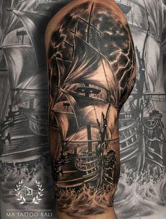 Ship Tattoo by: Prima #MaTattooBali #BarongTattoo #RangdaTattoo #BaliTattooShop #BaliTattooParlor #BaliTattooStudio #BaliBestTattooArtist #BaliBestTattooShop #BestTattooArtist #BaliBestTattoo #BaliTattoo #BaliTattooArts #BaliBodyArts #BaliArts #BalineseArts #TattooinBali #TattooShop #TattooParlor #TattooInk #TattooMaster #InkMaster #AwardWinningArtist #Piercing #Tattoo #Tattoos #Tattooed #Tatts #TattooDesign #BaliTattooDesign #Ink #Inked #InkedGirl #Inkedmag #BestTattoo #Bali Ma Tattoo, Bicep Tattoo, Piercing Tattoo, Tattoo Shop, Tattoo Studio, Tattoo Master, Ink Master, Tattoos For Guys, Cool Tattoos