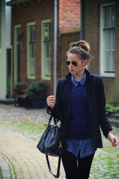 layers of blue + black / outfit