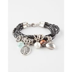 Full Tilt 3 Row Braided Faux Leather Charm Bracelet ($5.99) ❤ liked on Polyvore featuring jewelry, bracelets, black, black bead bracelet, braided chain bracelet, bracelet charms, charm bracelet bangle and chain bracelet