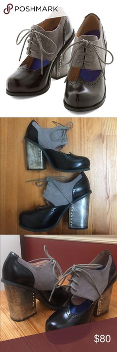 """Jeffrey Campbell platform oxford Mary Janes Black and gray with leather upper and 3.75"""" studded Tiquin heels. Only worn a few times. Jeffrey Campbell Shoes Heels"""