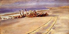 Peder Severin Krøyer, Shipwreck at Skagen North Beach, 1894, Oil on canvas, 33,02 x 63,18 cm, Private Collection