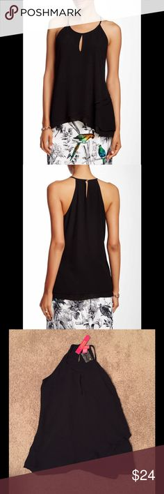 🌹SOLD🌹 Catherine Malandrino Tank Halter neck with button and loop closure, sleeveless, back keyhole, double layer, tulip hem. 100% polyester. Machine wash. Catherine Malandrino Tops Tank Tops