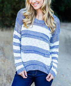 Look what I found on #zulily! Blue & White Stripe Hi-Low Sweater by Pinkblush #zulilyfinds