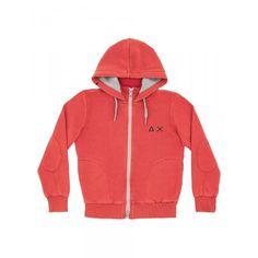 Boy's orange zipped fleece with hood SUN68 SS15 KIDS #SUN68 #SS15 #kids #boy #fleece