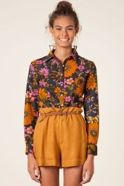 camisa cropped floral poli