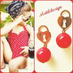 Fashion jewelry, Made in Italy earrings, matildesign, orecchini moda, bijoux, red, rosso