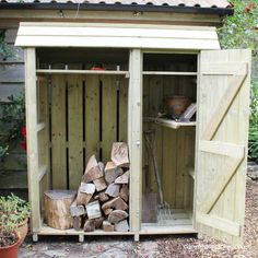 Tall Garden Store with Log Store (5ft wide) - view 5