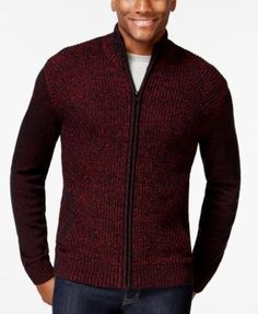 40 Alfani BLACK Big and Tall Marled Full-Zip Mock-Neck Sweater, Only at Macy's