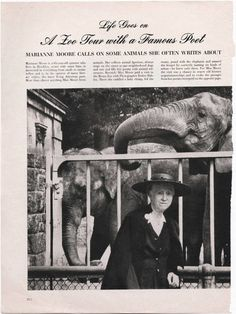 Marianne Moore at the zoo.