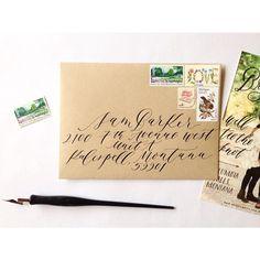 Envelope calligraphy on Kraft Envelopes. By Cast Calligraphy & Design. Bozeman Montana.