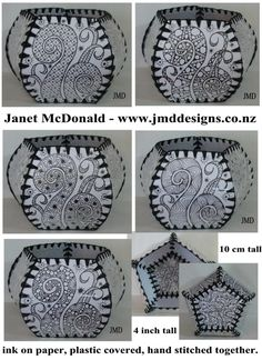 Pictured above is a vessel I handmade. The shape and construction is reminiscent of small vessels or boxes made with Christmas/Birthday cards. Crochet Box, Card Boxes, Christmas Birthday, Zentangles, Hand Sewing, Lanterns, Birthday Cards, Weaving, Greeting Cards