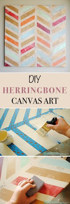 DIY Herringbone Canvas Art // DIY canvas art is a great way to get unique art specific to your own style and it's not a difficult thing to do.