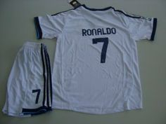 Real Madrid 2012 - 2013 RONALDO Kids Home Jersey Shirt & Shorts For Kids 5-6 Years Old by adidas. $44.99. Machine washable. Printed sponsor. ClimaCool material. Real Madrid Club badge. KID Jersey  Shirt & Shorts For Kids 5-6 Years Old Height 112-123cm. adidas Real Madrid Home Jersey 2012/2013  Play like a Galactico in the adidas Real Madrid 2012/2013 Home Shirt, complete with the clubs famous club badge to the left chest and printed sponsor to the centre, with the classi...