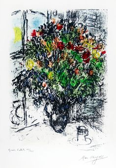 Chagall Hand Signed Color Lithograph | The Red Bouquet, 1969