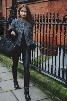 fur rim jacket, leather trousers, boots