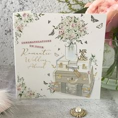 Congratulations on Your Romantic Wedding Abroad - Suitcases, Handfinished Wedding Card with Crystals Getting Married Abroad, Office Branding, Vintage Suitcases, Wedding Abroad, Flower Decorations, Wedding Cards, Butterflies, Envelope, Congratulations