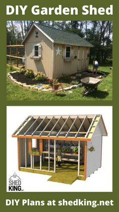 """This garden shed is 12'x16' and has a 5' double shed door on the front and 32"""" back pre-hung door on the back and 2 windows. It's the perfect shed for a she shed or garden shed. I built this shed for my wife and later on added a chicken coop on the backside. These diy garden shed plans come with a shed building guide, materials list, email support, and you might get a discount on the plans if you visit the link today. Shed Building Plans, Diy Shed Plans, 3d Building Models, Workshop Shed, Shed Builders, Build Your Own Shed, Shed Homes, She Sheds, Shed Storage"""