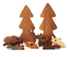 14 Piece Wooden Woodland Play Set Waldorf Miniature Forest Animals Hand Cut…