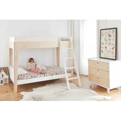 Oeuf Perch Twin Bunk Bed - white and Birch