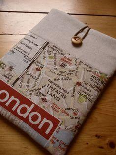 London iPad Cover, iPad Sleeve in London Map Fabric £16.00