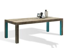 Mogg's Zio Tom Dining Table by Claudio Bitett - made from reclaimed larch with a striking silver patina. The undersides of the table are lacquered.