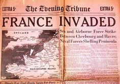 "Newspaper headline from The Evening Tribune, ""France Invaded"""